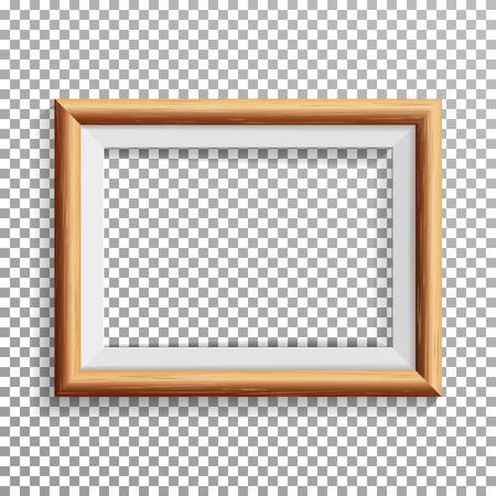 Realistische fotolijst Vector met zachte schaduw. Geïsoleerd op transparante achtergrond. Stock Illustratie