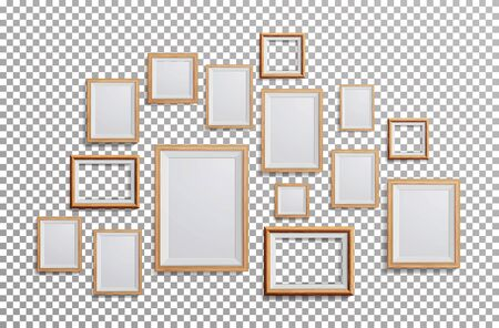 a3: Realistic Photo Frame Vector. Set Square, A3, A4 Sizes Light Wood Blank Picture Frame, Hanging On Transparent Background From The Front. Design Template For Mock Up. Illustration