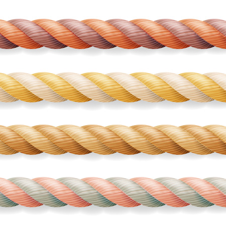 Realistic Rope Vector. Different Color Thickness 3d Rope Line Set Multicolored Twisted Nautical Cord. Isolated On White Background. Good For Borders Or Frames