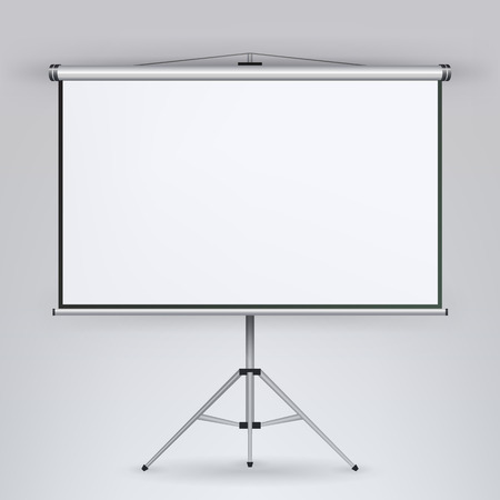 Meeting Projector Screen Vector. White Board Presentation Conference With Tripod. Empty White Board On Tripod For Conference And Meeting, Screen White Boad Presentation Vettoriali