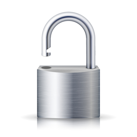 Realistic Unlocked Padlock Vector. Metal Lock For Safety Illustration. Isolated On White With Shadow And Reflection Vettoriali