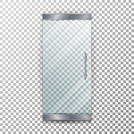 Glass Door Transparent Vector. Architectural interior symbol With Soft Shadow In Front On Checkered Background Illustration