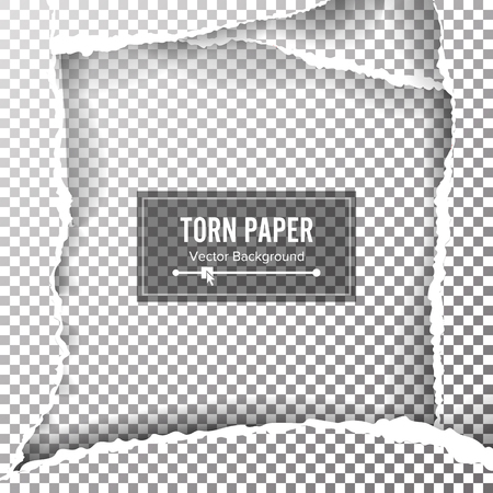 Torn Paper Blank Vector. Ripped Edges With Space For Text.