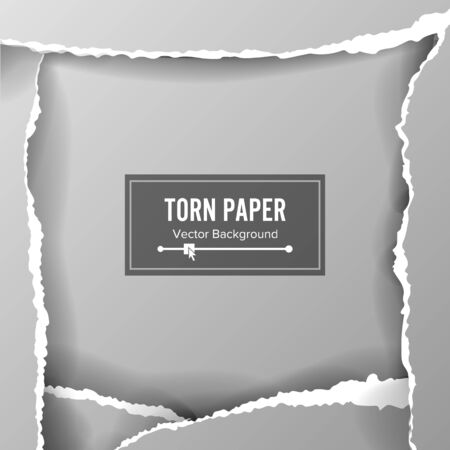 shredding: Torn Paper Blank Vector. Collection Of White Torn Paper. Ripped Edges With Shadow. Illustration