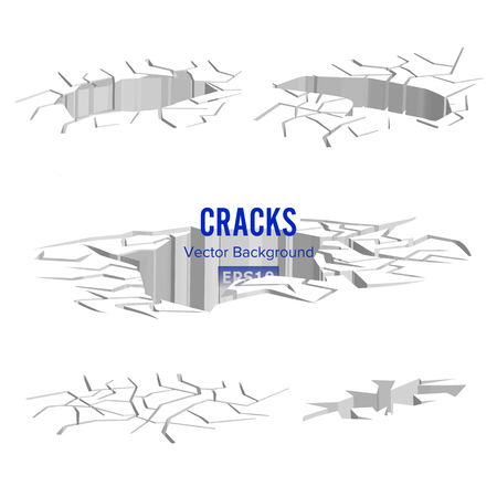 Cracks In The Ground Vector. Split Damage After Earthquake