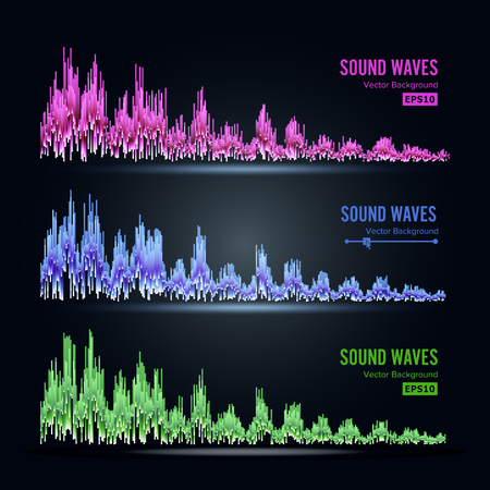 Music Sound Waves Pulse Abstract Vector. Synthesis And Electronic Sound Hearing. Abstract Technology For Creating Tunes And Ringtones.