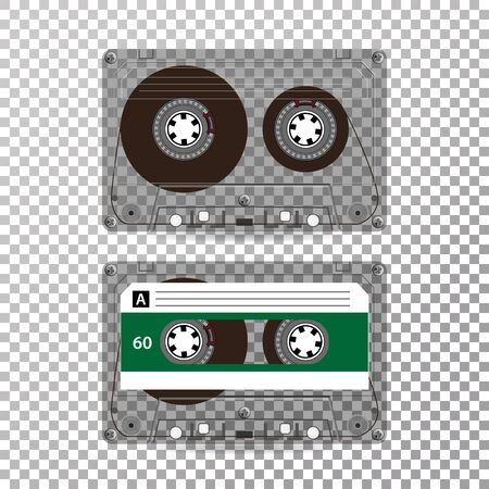 seventies: Retro Audio Cassette Vector. Realistic Vector Cassette Isolated On Transparent Background