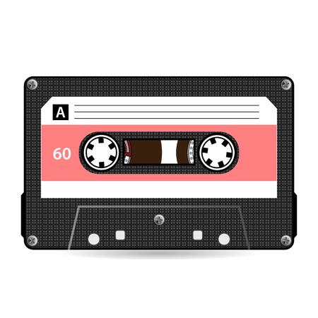 레트로 오디오 카세트 벡터입니다. 플라스틱 오디오 카세트 테이프. 오래 된 기술, 현실적인 디자인 일러스트 레이 션. 흰색 배경에 고립