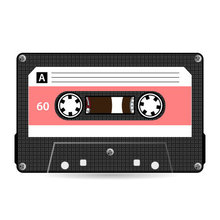 Retro Audio Cassette Vector. Plastic Audio Cassette Tape. Old Technology, Realistic Design Illustration. Isolated On White Background