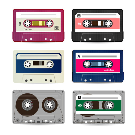 Retro Audio Cassette Vector. Collection Of Different Colorful Music Tapes. Isolated On White Background. Фото со стока - 74450635