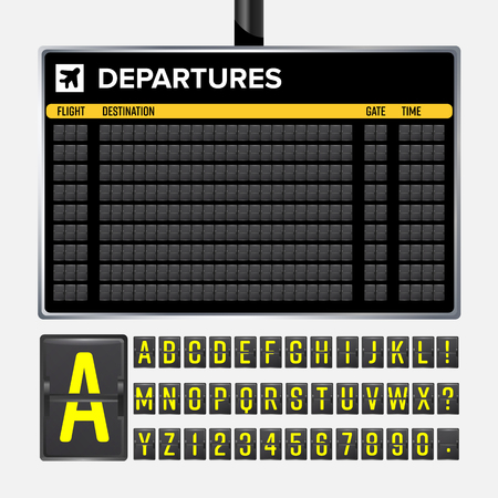 Airport Board Vector. Mechanical flip airport scoreboard. Black airport and railway timetable departure or arrival. Destination airline board abc. Vector airport board isolated Çizim