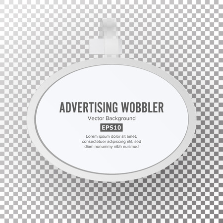 Plastic Advertising Wobbler Vector. Blank White Paper Plastic Advertising Price Wobbler Front View With Soft Shadow