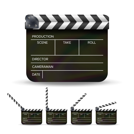 Clapper Board Vector. Black Cinema Clapper Isolated On A White Background. Illustration