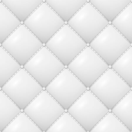 Quilted Pattern Vector. Abstract Soft Textured Background With Squares In White. Close-up View.  イラスト・ベクター素材