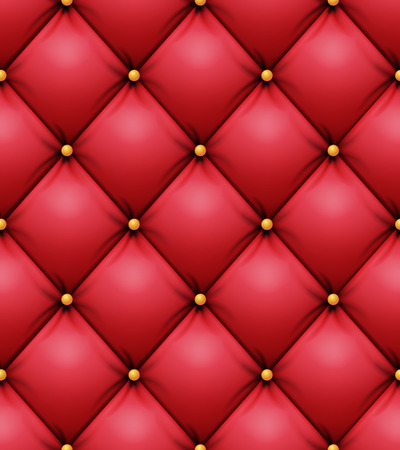 Quilted Pattern Vector. Red Leather Upholstery Background For A Luxury Decoration. Seamless Illustration