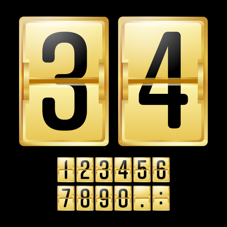 sec: Mechanical Scoreboard Vector. Gold Yellow Timetable With Black Numbers. Analog Clock Panel. Countdown Timer.