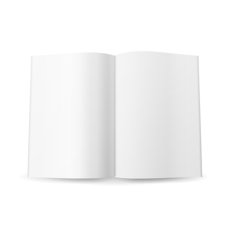 open magazine: Open Magazine Spread Blank Vector. Isolated On White Background.