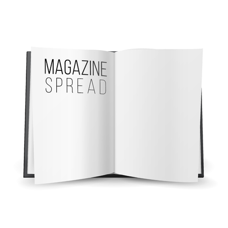 Open Magazine Spread Blank Vector. Double-page Spread, Empty Pages. Illustration