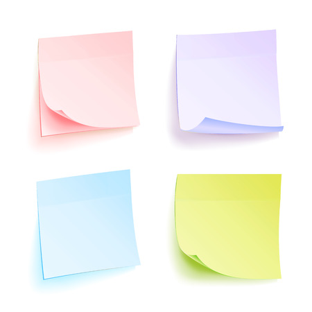 writing pad: Paper Work Notes Isolated Vector. Set Of Color Sheets Of Note Papers. Four Bright Sticky Illustration