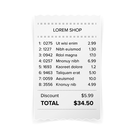 Printed Receipt Vector. Bill Atm Template, Cafe Or Restaurant Paper Financial Check Realistic Illustration
