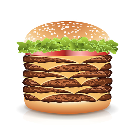 Fast Food Realistic Burger Vector. Realistic vector illustration of burger. Hamburger with Meat, Cucumbers, Cheese And Tomato.