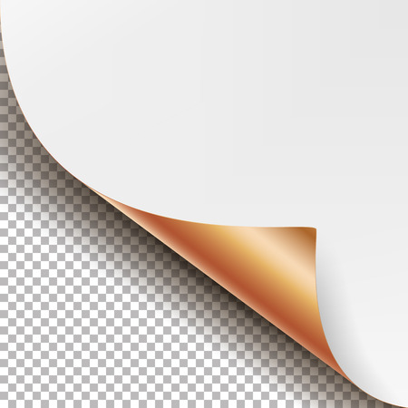 metalic design: Curled Metallic Corner Vector. Realistic Paper With Soft Shadow Mock Up Close Up Isolated.