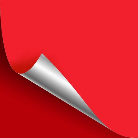 Curled Silver Metalic Corner Vector. Red Paper with Shadow Mock up Close up On Red Backdound