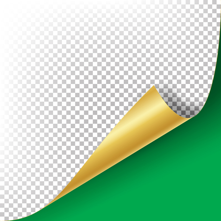 Curled Golden Metalic Corner Vector. Paper with Shadow Mock up Close up Isolated Illustration