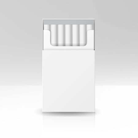 baccy: Blank Pack Package Box Of Cigarettes 3D Vector Template For Design. Opened Pack Of Cigarettes Isolated