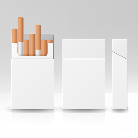 Blank Pack Package Box Of Cigarettes 3D Vector Carton Template For Design. Isolated Illustration