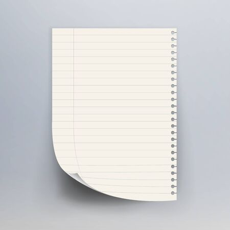 morsel: Notebook Paper With Torn Edge Vector Illustration. Realistic Commercial Vertical Background.