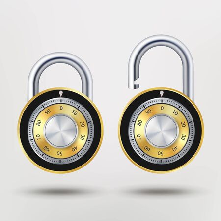 man made: Combination Padlock, Realistic Metal Vector Illustration. Security Lock Icon