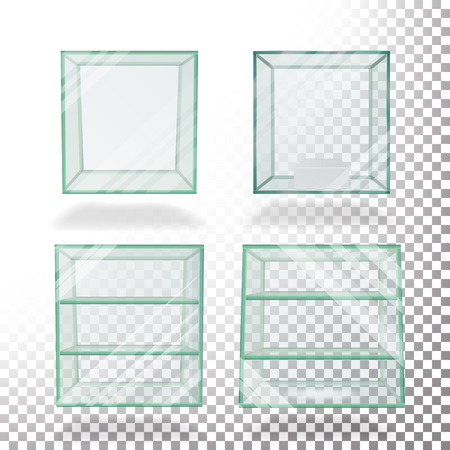 translucent: Empty Transparent Glass Box Cube Set Vector. For Exhibition And Presentation.