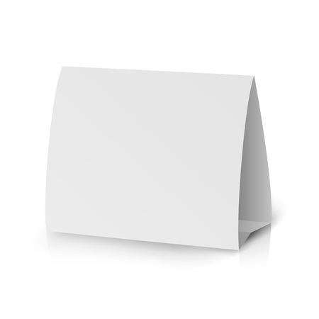 placecard: White Paper Stand Table Tag Flyer Vector. Modern 3d Empty Blank White Paper Table Card