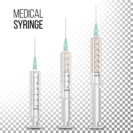 Vector Plastic Medical Syringe For Injection Isolated 3d Realistic Illustration. Transparent Background.