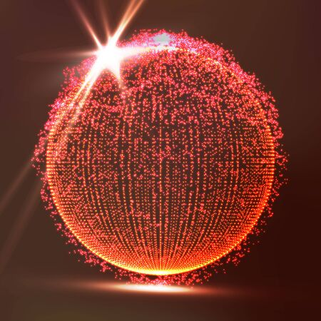 globe grid: Dots Array And Lines. Vector Illustration. Big Data Visualization Abstract Vector Background. Illustration