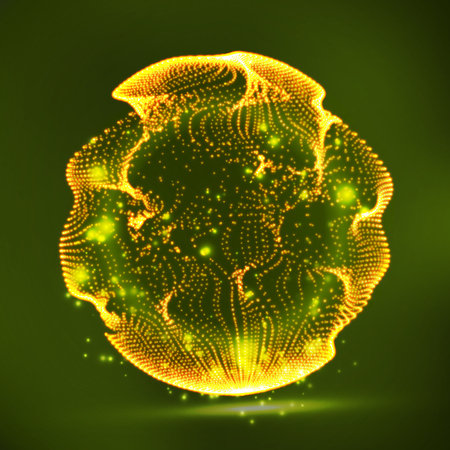 globe grid: Digital Abstract Background With Glowing Halftone, Flying Debris.