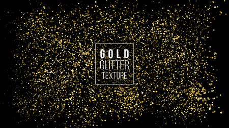 Gold Glitter Cloud Or Shining Particles Explosion Texture. Luxury Golden Sparkles Effect. Vector Dark Background. Like Sparkling Confetti Cloud Spray