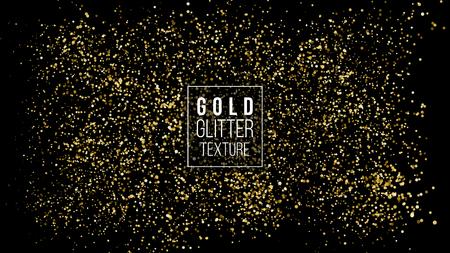 골드 반짝이 구름 또는 빛나는 입자 폭발 텍스처. 럭셔리 황금 반짝임 효과입니다. 벡터 어두운 배경입니다. 스파클링 콘 페티 클라우드 스프레이처럼