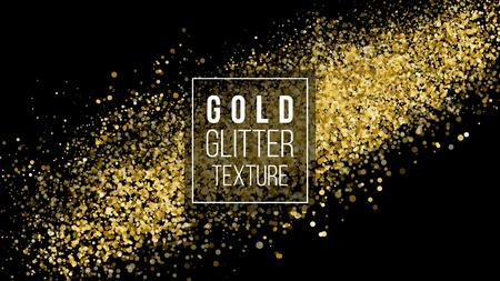 Nuage de paillettes d'or ou Texture éclatée de particules éclatantes. Couleur des particules d'ambre. Contexte festif. Explosion d'or de confettis. Vecteur