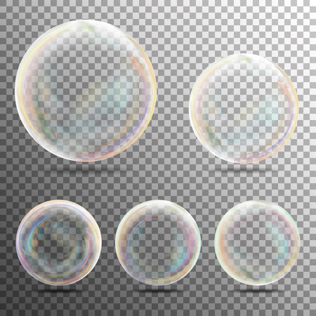 Realistic Soap Bubbles On Transparent Background. Vector Collection
