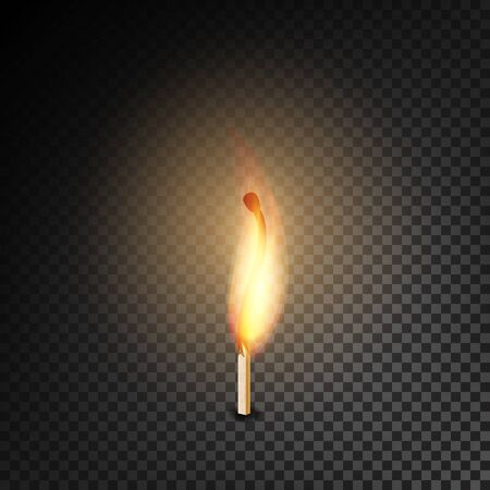 pyromania: Realistic Burning Match Vector. Burning Match On Transparency Grid Background