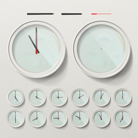 Realistic Wall Clocks Set Vector Illustration. Wall Analog Clock. Realistic Second Minute Hour