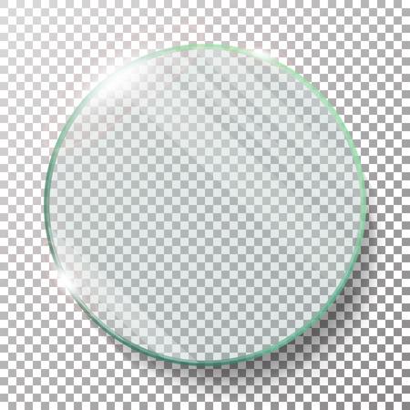 Cercle rond transparent Vector Illustration réaliste. Cercle de verre plat. Plaque de verre. Transparence. Lens Flares. Vecteurs