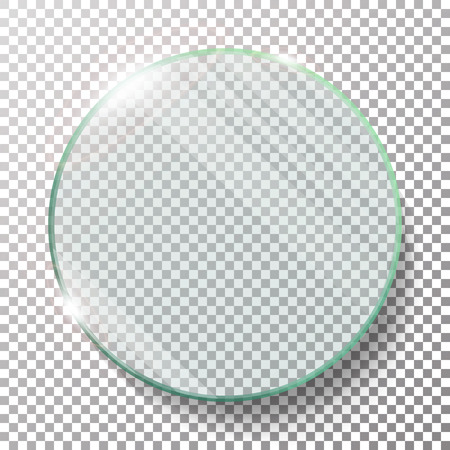 Transparent Round Circle Vector Realistic Illustration. Flat Glass Circle. Glass Plate. Transparency. Lens Flares. Illustration