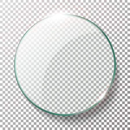 Transparent Round Circle Vector Realistic Illustration. Background Glass Circle Illustration
