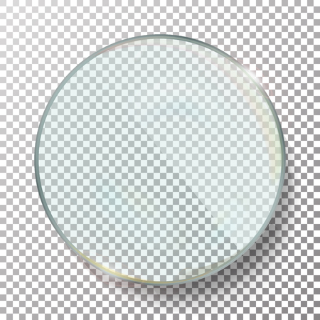 Transparent Round Circle Vector Realistic Illustration. Background Glass Circle Çizim