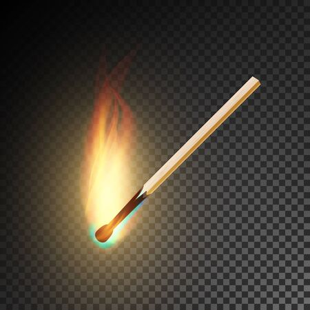charred: Realistic Burning Match Vector. Burning Match On Transparency Grid Background