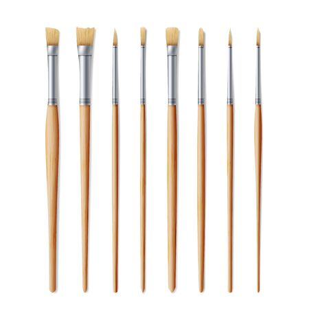 Realistic Artist Paintbrushes Set. Fan, Flat, Angle Brush. Watercolor, Acrilic Or Oil Brushes With Light Wooden Handle, Metal Ferrule And Sable, Nylon Bristle. Vector Illustration