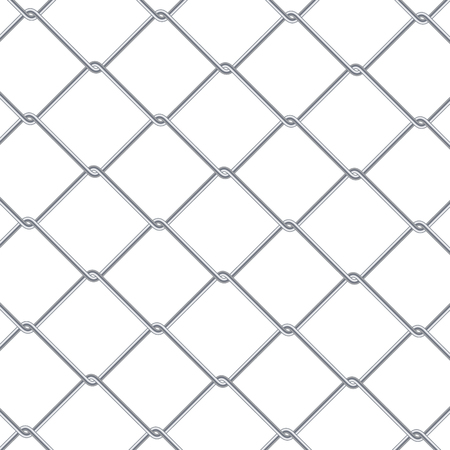 metal mesh: Chain Link Fence Background. Industrial Style Wallpaper. Realistic Geometric Texture. Steel Wire Wall Isolated On White. Vector illustration